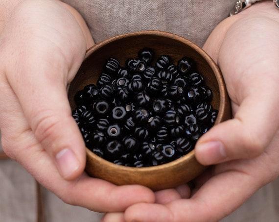 Pitch Black Birka Viking Age Glass Melon Bead Replica