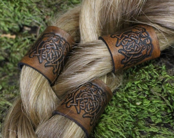 Celtic Beastie Leather Hair/Beard Bead