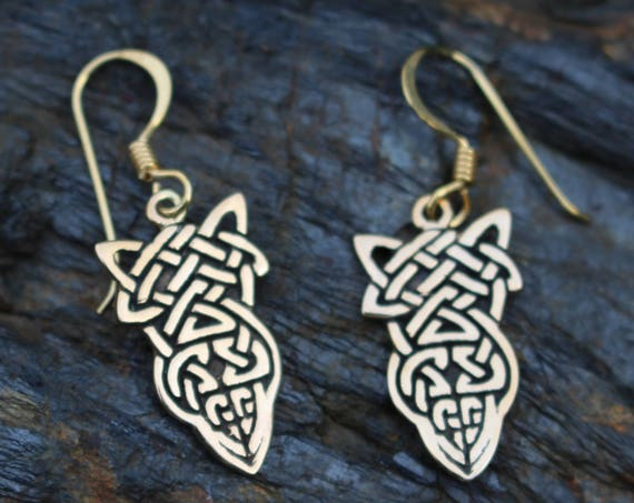 READY TO SHIP Knotwork Bronze Earring