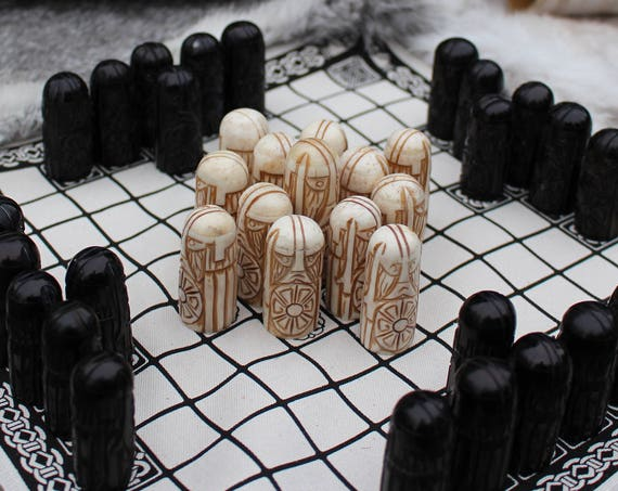 Hand Carved Bone Hnefatafl Pieces