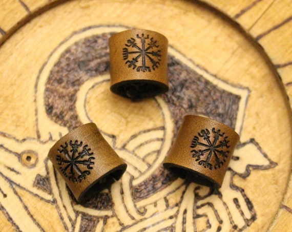 Viking Compass Leather Viking Hair/Beard Bead