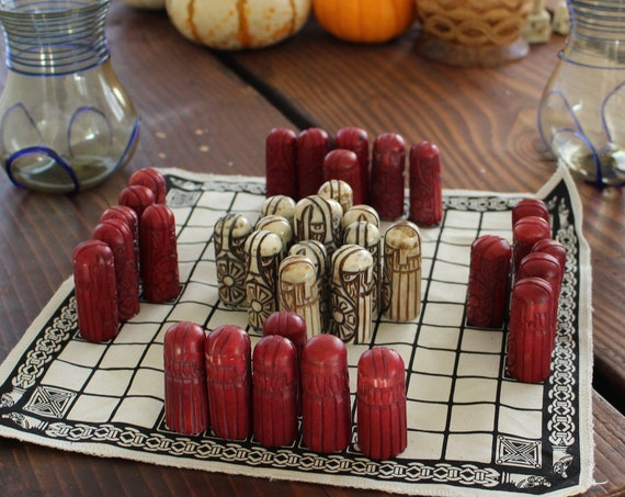 PRE ORDER Hand Carved Ox Blood Bone Hnefatafl Pieces