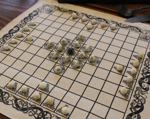 Hnefatafl Viking Chess Game W/ Bone Playing Pieces