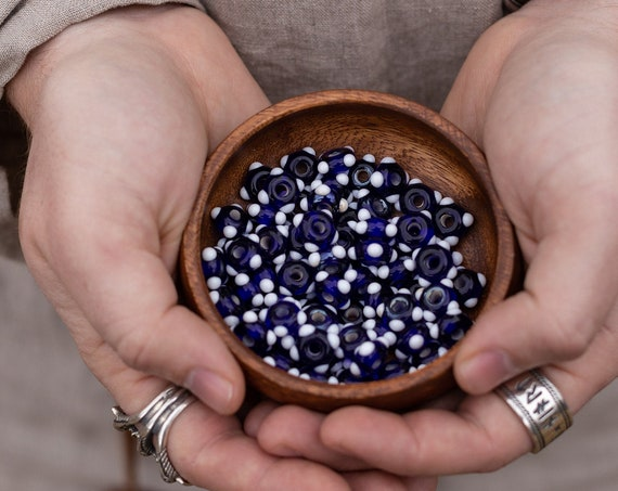 Viking Age blue and white Glass Bead Replica