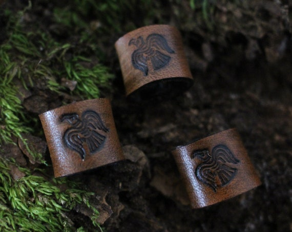 Norse Raven Leather Viking Hair/Beard Bead