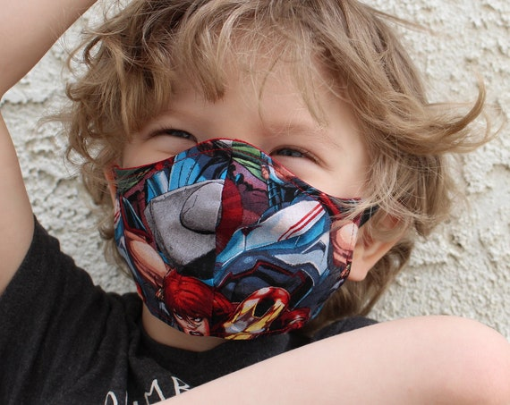Face Mask Cotton Reusable Washable Unisex Adult and Children's Mask Super Heros