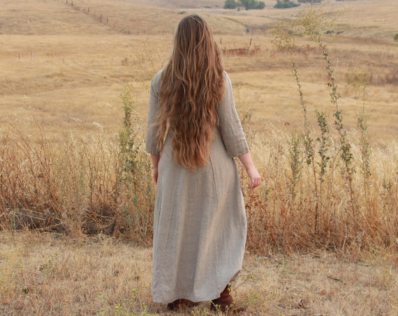Hand Hemmed Viking Age Dress / Sark In 100% linen