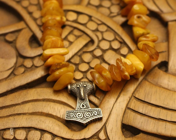 Baltic Amber Necklace with Sterling Silver Mjolnir