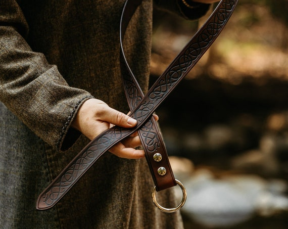 Mens Medieval Ring Belt With Viking Age Art