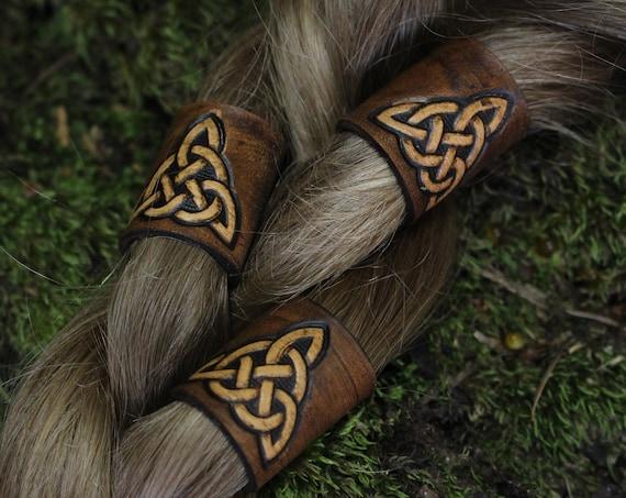 Celtic Leather Hair/Beard Bead