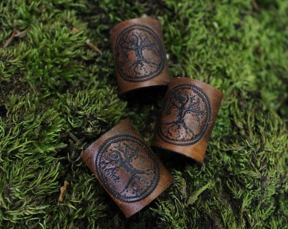 World Tree Hair/Beard Bead In Leather