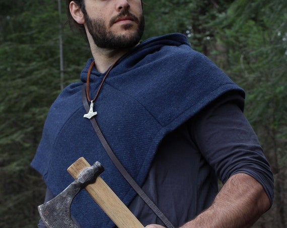 Viking Wool Rectangle Cloak And Skjoldehamn Hood in sample Blue for historical reenactment.