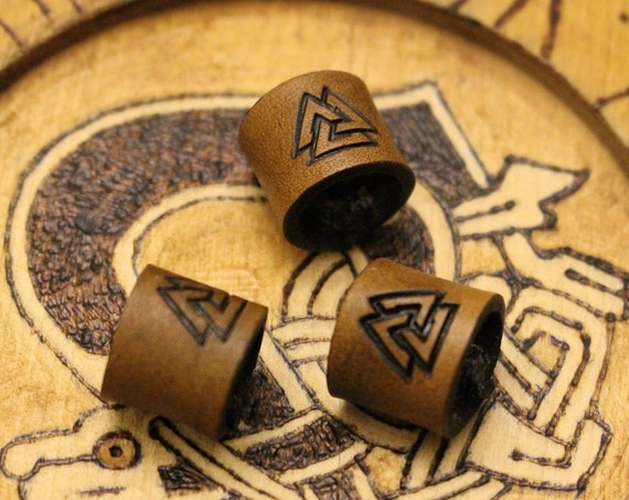 Valknut Leather Viking Hair/Beard Bead