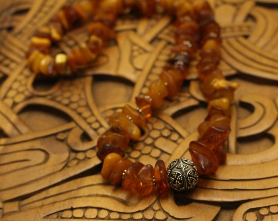 Baltic Amber Necklace with Silver Bead and Spacers.