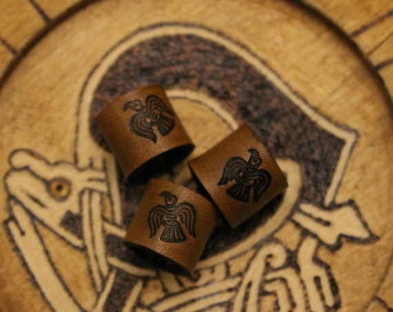 Norse Raven Leather Viking Hair/Beard Bead