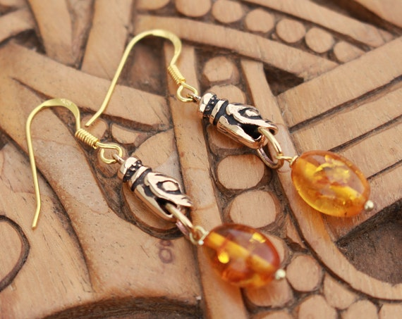 Baltic Amber Viking Wolf Earrings