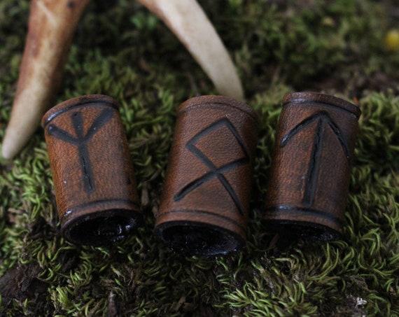 Runic Leather Viking Hair/Beard Bead