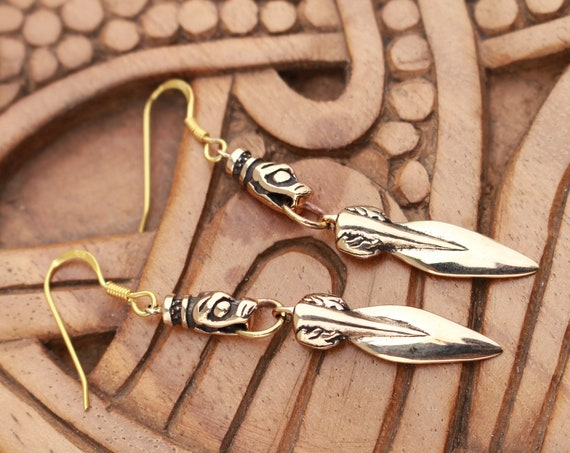 Bronze Gungnir Wolf Earrings