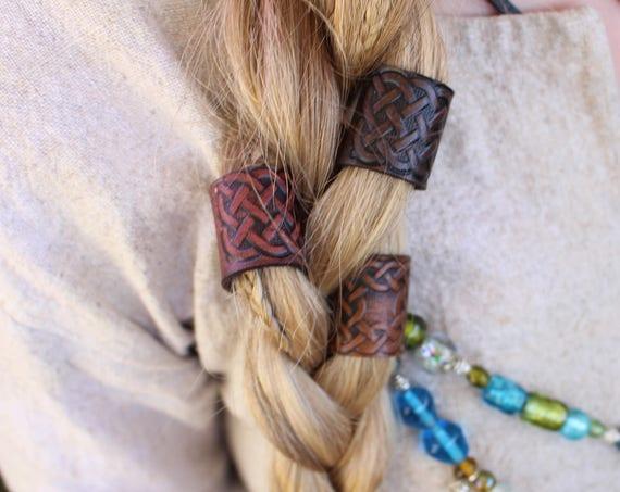 Large Leather Viking Hair/Beard Bead