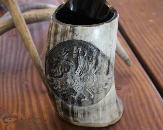 Hand Carved Horn Tankard W/ Ringerike Art