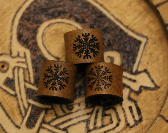 Helm of Awe Leather Viking Hair/Beard Bead