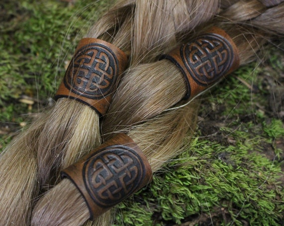 Celtic Leather Hair/Beard Bead