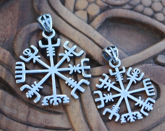 Sterling Silver Vegvisir Icelandic Compass Pendant Handmade