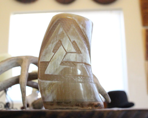 Hand Carved Horn Tankard W/ Valknut
