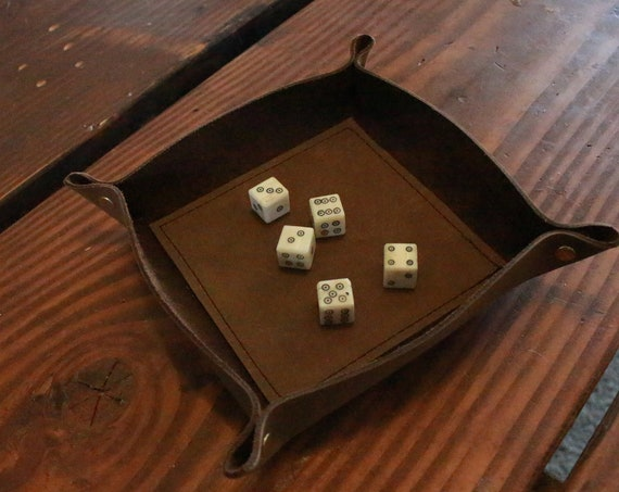 Dice Rolling Leather Tray