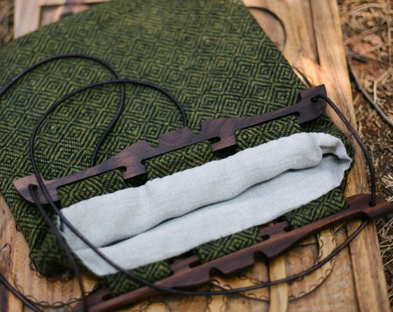 Hedeby Bag W/ Walnut Handles, Diamond Twill Wool And Linen Lining
