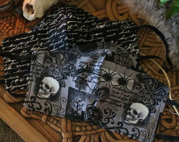 Face Mask Cotton Reusable Washable Unisex  Adult and Children's Mask - Halloween Skeletons