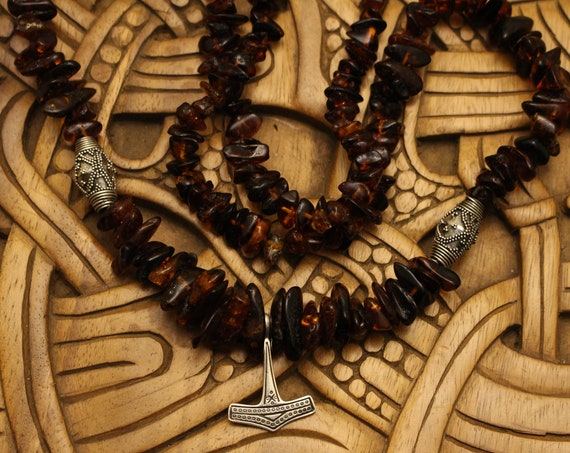 Baltic Amber Necklace with Silver Beads and Replica Mjolnir