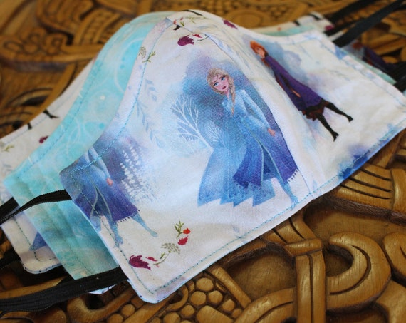 Face Mask Cotton Reusable Washable Unisex Adult and Children's Frozen Anna and Elsa