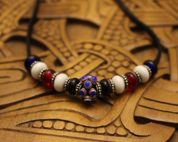 Replica Birka beads with Sterling Silver spacers.