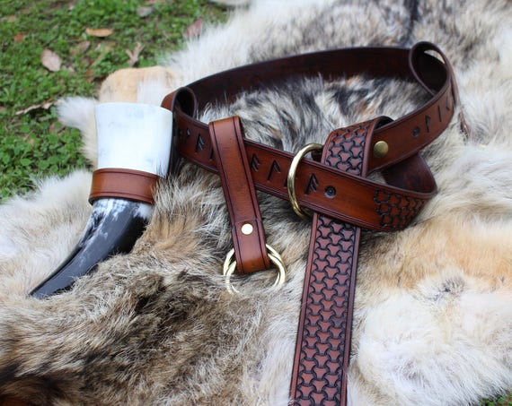 "Leather Viking ""Victory Or Valhalla"" Rune Belt"