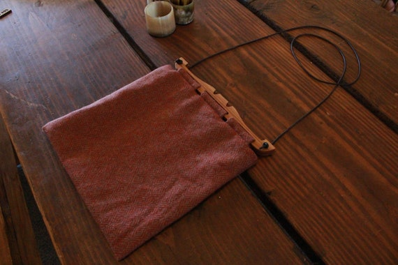 Hedeby Bag With Oak Handles, Diamond Twill Wool And Linen Lining