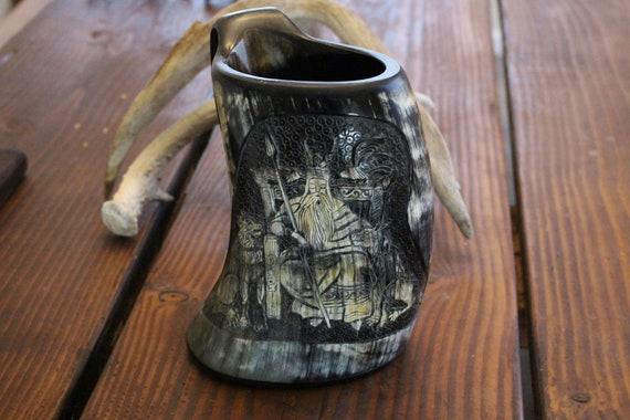 Hand Carved Odin Horn Tankard