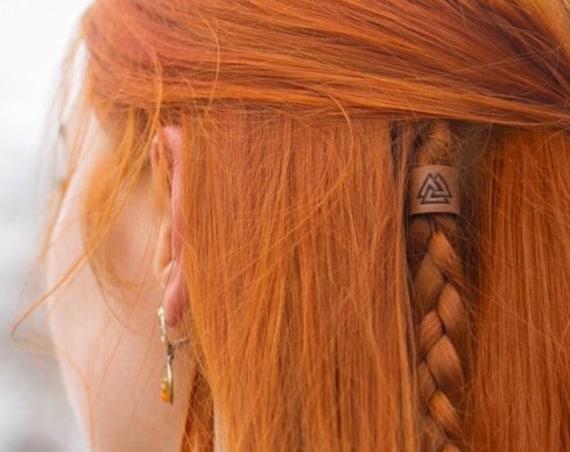 Valknut Leather Viking Hair/Beard Bead