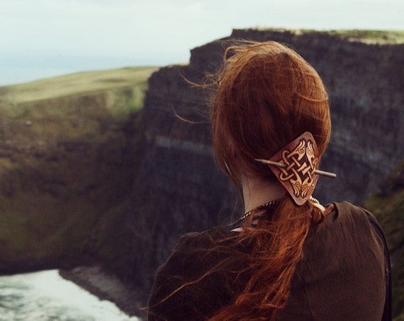 Celtic Knot Leather Hair barrette