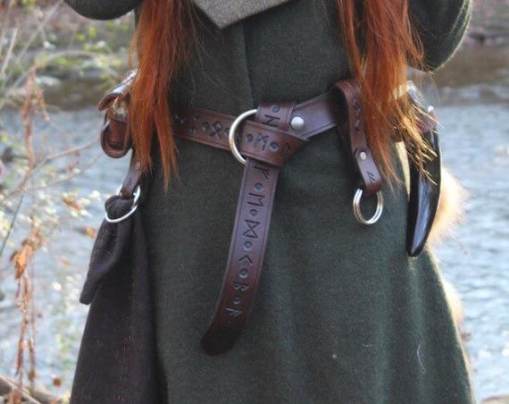 Leather Viking futhark Runic Belt