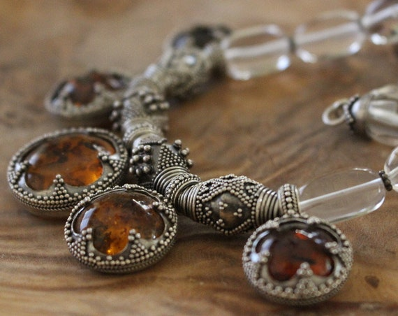 Gotland Amber and Silver Viking Age Replica Necklace