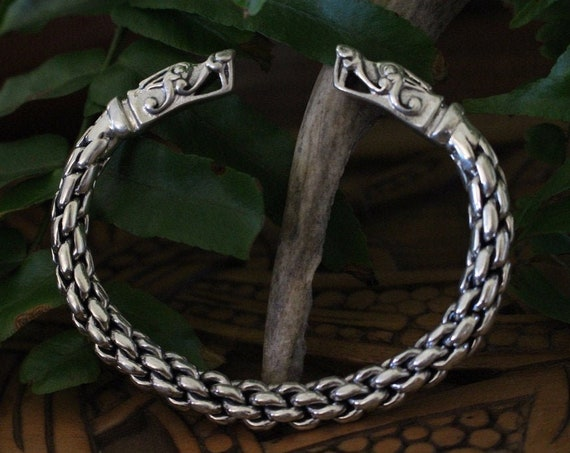 Sterling Silver Swedish Gotland Dragon Bracelet