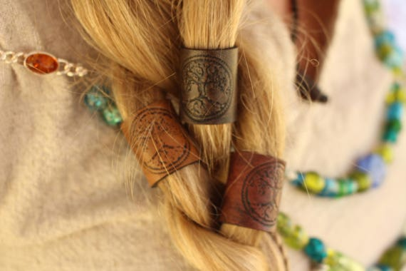 READY TO SHIP Large Leather world tree Hair/Beard Bead