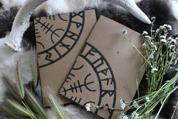 Hand printed folded cards with Aegishjelmur and Elder Rune row design.