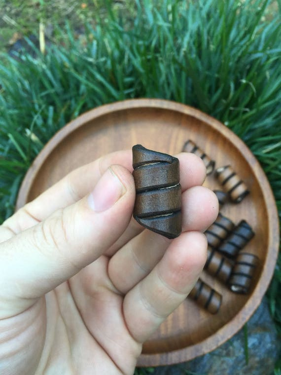 Leather Hair Spiral Beads