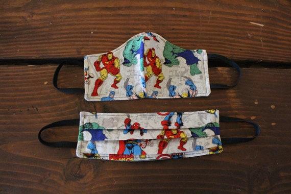 Face Mask Cotton Reusable Washable Unisex Adult and Children's Mask Super Hero