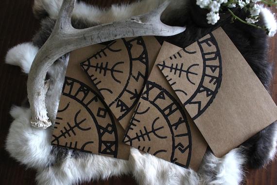 Hand printed cards with Aegishjelmur and Elder Rune row design.