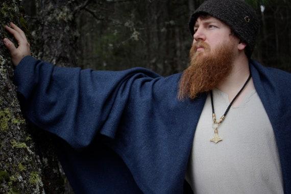 Viking Wool Rectangle Cloak And Skjoldehamn Hood in sample Blue for historical reenactment.