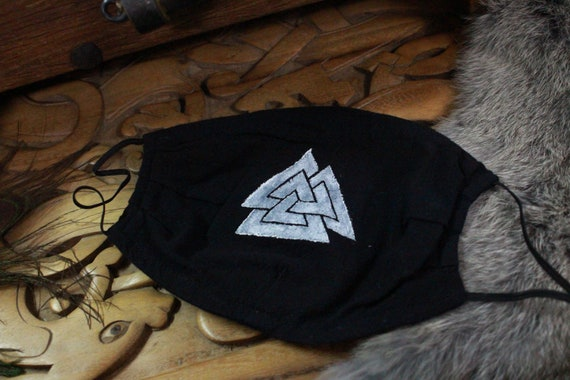 Ready To Ship Face Mask 100% Cotton Reusable Washable Unisex Adult Mask With Filter Pocket  - Viking Age Valknut