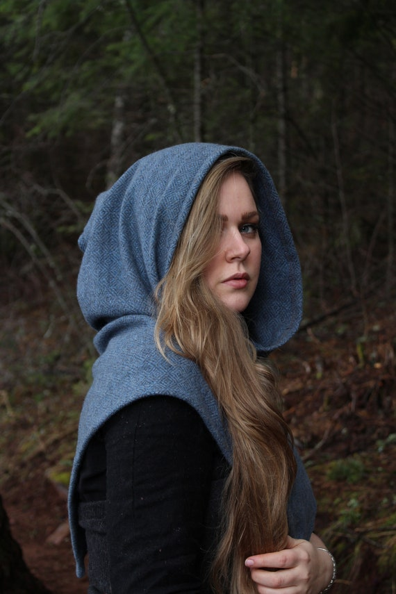 Skjoldehamn Hood In Gorgeous Diamond Twill 100% Wool . Historical Reenactment- Viking Age - SCA